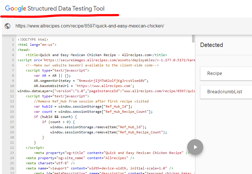 google structure data testing tool